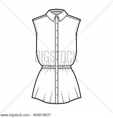 Shirt Drawstring Gathered Waist Technical Fashion Illustration With Sleeveless, Tunic Length, Classi