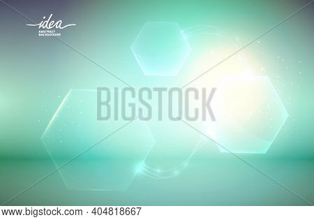 Hexagonal Shapes Idea Abstract Background Poster With Different-sized Hexagons Variously Distributed