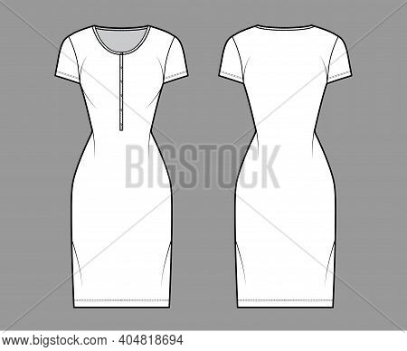 Shirt Dress Technical Fashion Illustration With Henley Neck, Short Sleeves, Knee Length, Fitted Body