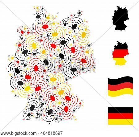 German Geographic Map Mosaic In German Flag Official Colors - Red, Yellow, Black. Vector Radio Bug D