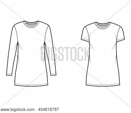 Set Of T-shirt Mini Dresses Technical Fashion Illustration With Crew Neck, Long And Short Sleeves, O