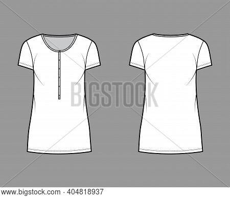 Shirt Dress Mini Technical Fashion Illustration With Henley Neck, Short Sleeves, Oversized, Pencil F