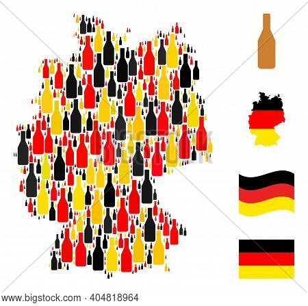 Germany Geographic Map Mosaic In Germany Flag Official Colors - Red, Yellow, Black. Vector Beer Bott