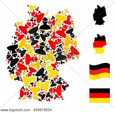 Germany State Map Mosaic In Germany Flag Official Colors - Red, Yellow, Black. Vector Worker Element