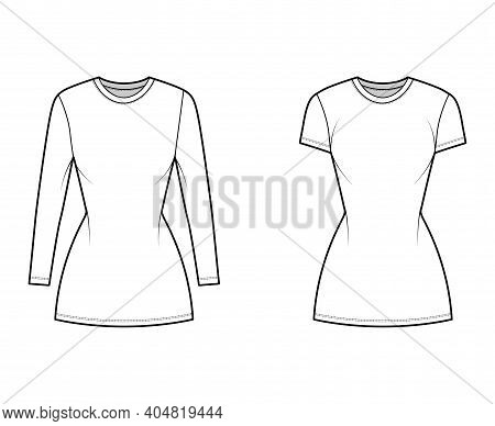 Set Of T-shirt Dresses Technical Fashion Illustration With Crew Neck, Short And Long Sleeves, Mini L