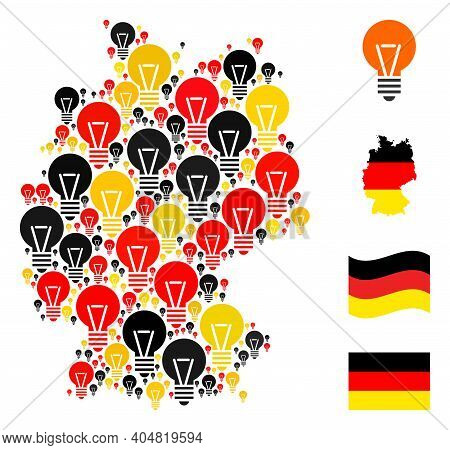 Germany Map Mosaic In Germany Flag Official Colors - Red, Yellow, Black. Vector Electric Bulb Design