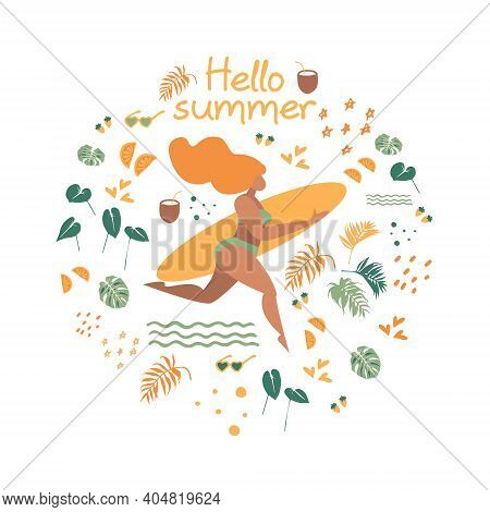 Hello Summer. Illustration Of A Running Girl With A Surfboard. Beach And Surfings Design For Poster,