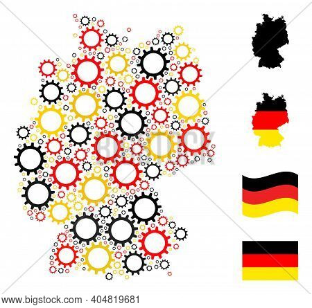 Germany State Map Mosaic In Germany Flag Official Colors - Red, Yellow, Black. Vector Gear Elements