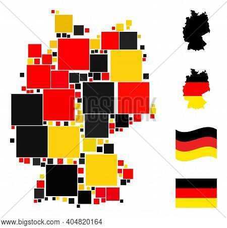 German Map Mosaic In German Flag Official Colors - Red, Yellow, Black. Vector Filled Square Design E