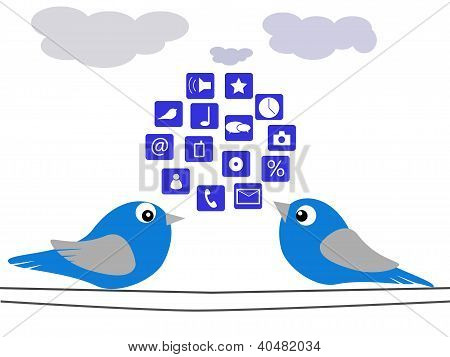 The birds, social network icons and clouds poster