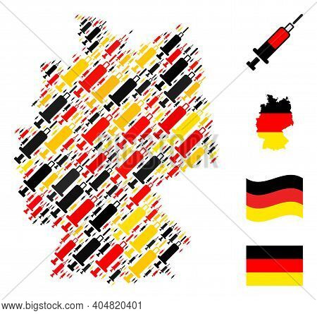 Germany State Map Mosaic In Germany Flag Official Colors - Red, Yellow, Black. Vector Blood Syringe