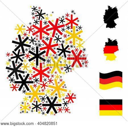 German Geographic Map Mosaic In German Flag Official Colors - Red, Yellow, Black. Vector Primitive S