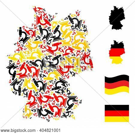 German Geographic Map Mosaic In German Flag Official Colors - Red, Yellow, Black. Vector Microscope