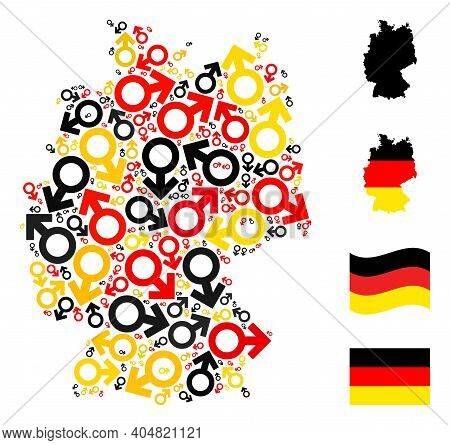 German State Map Mosaic In German Flag Official Colors - Red, Yellow, Black. Vector Male Symbol Elem