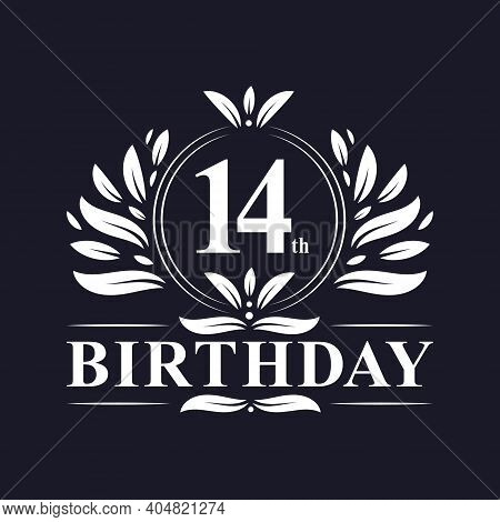 14th Birthday Celebration, Luxury 14 Years Birthday Logo Design.