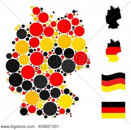 German Map Mosaic In German Flag Official Colors - Red, Yellow, Black. Vector Filled Circle Icons Ar