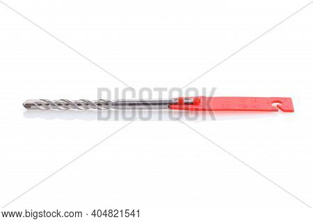 Tool. Drill For Drilling Concrete Stone And Brick. White Isolated Background . Drill Bit For Hammer