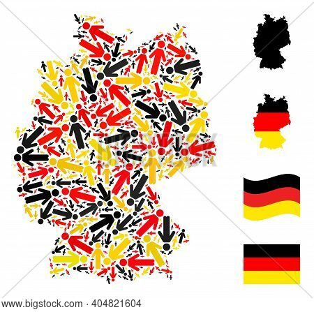German Geographic Map Mosaic In German Flag Official Colors - Red, Yellow, Black. Vector Person Elem