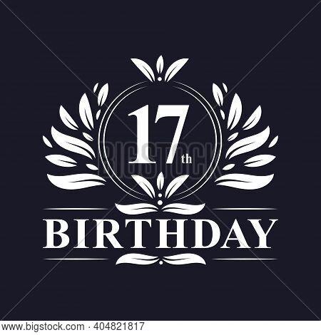 17th Birthday Celebration, Luxury 17 Years Birthday Logo Design.