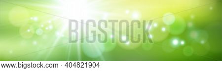 Abstract Green Vector Spring Or Summer Defocused Banner With Dots Of Light. Natural Background With