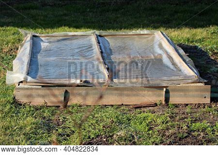 Rectangle Homemade Makeshift Small Greenhouse Used To Grow Organic Lettuce In Part Of Local Home Urb