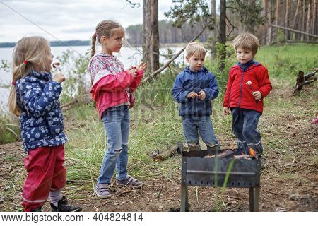 Group Of Kids Sitting By The Fire And Preparing To Bake Marshmallow Candies On Campfire, Hike At Wee