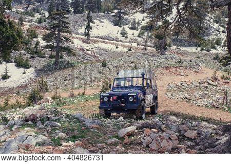Halt Of Off-road Extreme Expedition On Top Of Snow Mountains. Excursion Trip In The All-wheel Drive
