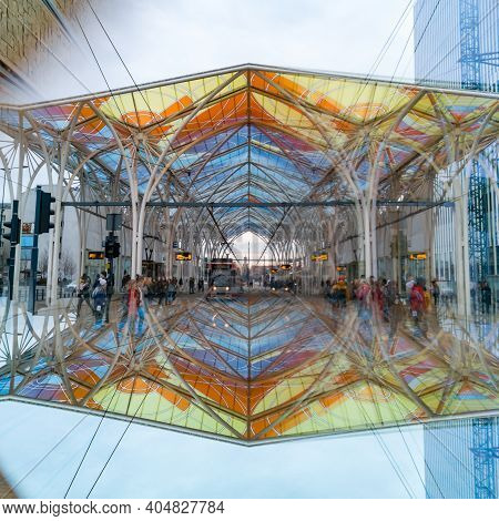 Lodz, Poland - February 22 2020 Unicorn Stable Train Station Reflected In Prismatic Cube