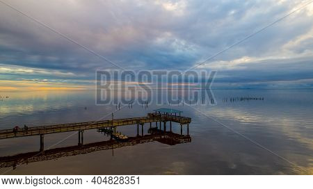 Mayday Pier On Mobile Bay At Sunset. Located In Daphne, Alabama