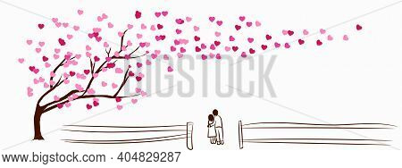 Happy Valentine\'s Day Concept. Flat Art Vector Illustration Abstract Background. Tree Of Love Pink