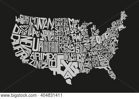 United States Of America Map Design Isolated On Black. Vector Illustration. State Lettering Names Fl