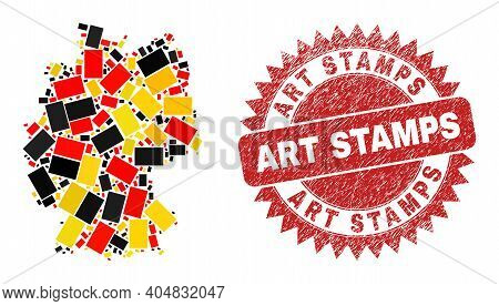 Germany State Map Mosaic In Germany Flag Official Colors - Red, Yellow, Black, And Art Stamps Red Ro