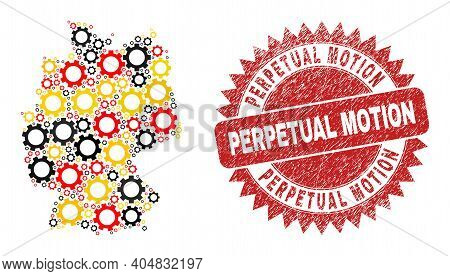 German Map Mosaic In German Flag Official Colors - Red, Yellow, Black, And Perpetual Motion Red Rose