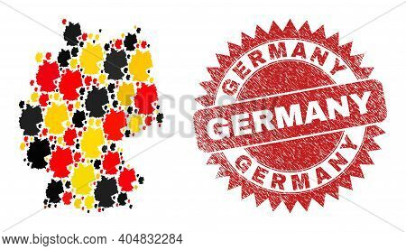 Germany Map Mosaic In German Flag Official Colors - Red, Yellow, Black, And Rubber Germany Red Roset