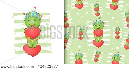 The Happy Tortoise With The Hat Holding The Big Love On His Hand