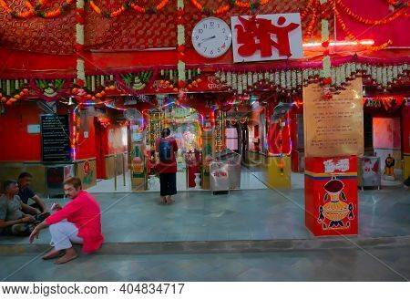 Jaisalmer, Rajasthan, India - 15th October 2019 : Devotees Inside Tanot Mata Mandir At India Pakista