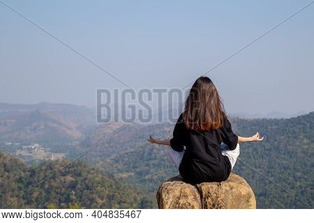 Woman Meditating Yoga At Mountains, Practices Meditation, Serenity, Lifestyle Relaxation, Emotional,