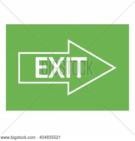 Right Arrow On A Green Background. Exit Inscription On The Arrow. Fire Exit. Stock Image. Eps 10.