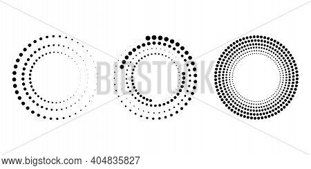 Halftone Dots Circle Set. Dot Halftone Gradient Effect. Pop-art Texture. Vector Design Banner. Stock