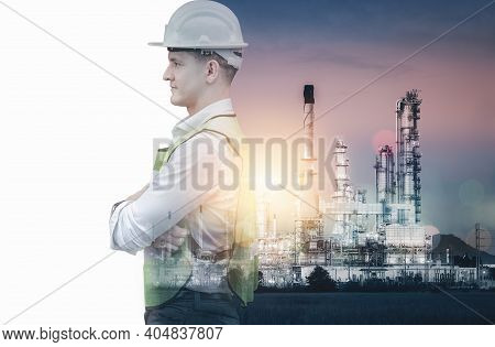 Manufacturing Oil-gas Industry And Engineering Futuristic Concept, Double Exposure Of Construction E