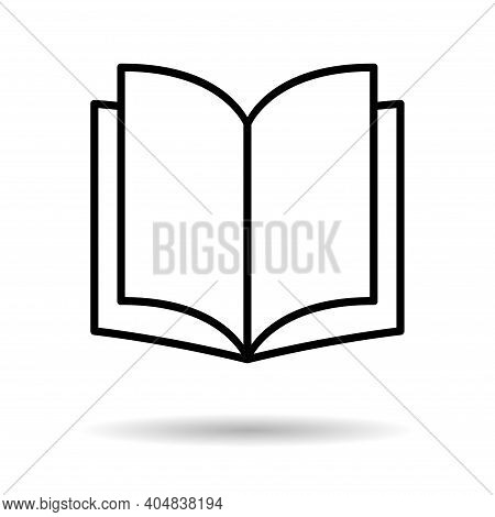 Book Icon, Open Education Textbook, Library Vector Illustration Symbol. Learning Design Isolated On