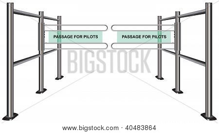 Turnstile at the airport. Passage for the pilots. Vector illustration. poster