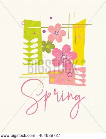 Modern Abstract Spring Design For Cards, Calendars, T-shirt Graphics. Retro Design Of Apple Blossoms