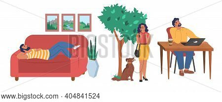 People Dreaming Scene Set, Flat Vector Illustration. Dreamy Characters Thinking While Relaxing At Ho