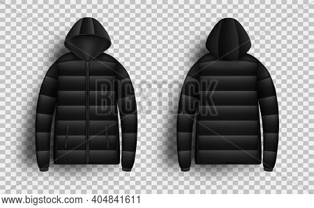 Black Puffer Jacket Mockup Set, Vector Isolated Illustration. Realistic Modern Hooded Down Jacket, F