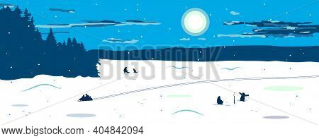 Panorama Of The Winter Landscape With A View Of The Frozen Snow-covered Lake. Fishermen Catch Fish O