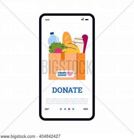 Volunteering And Food Donation Mobile App On Phone Screen. Cardboard Box Full Of Products For Social