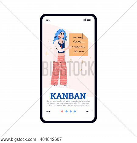 Kanban Business Manufacturing And Management System Onboarding Screen Template With Woman Holding In