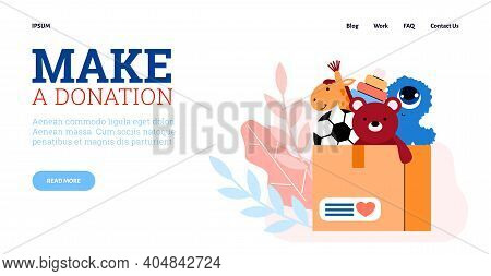 Website Banner Layout For Charity Foundation With Donation Box Symbol Full Of Children Toys, Flat Ve