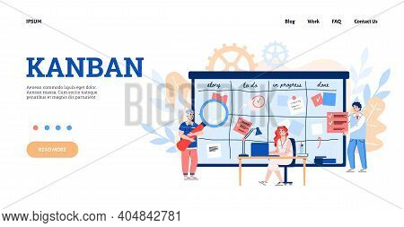Website Or Webpage For Kanban Scheduling System To Improve Manufacturing Efficiency, Flat Cartoon Ve